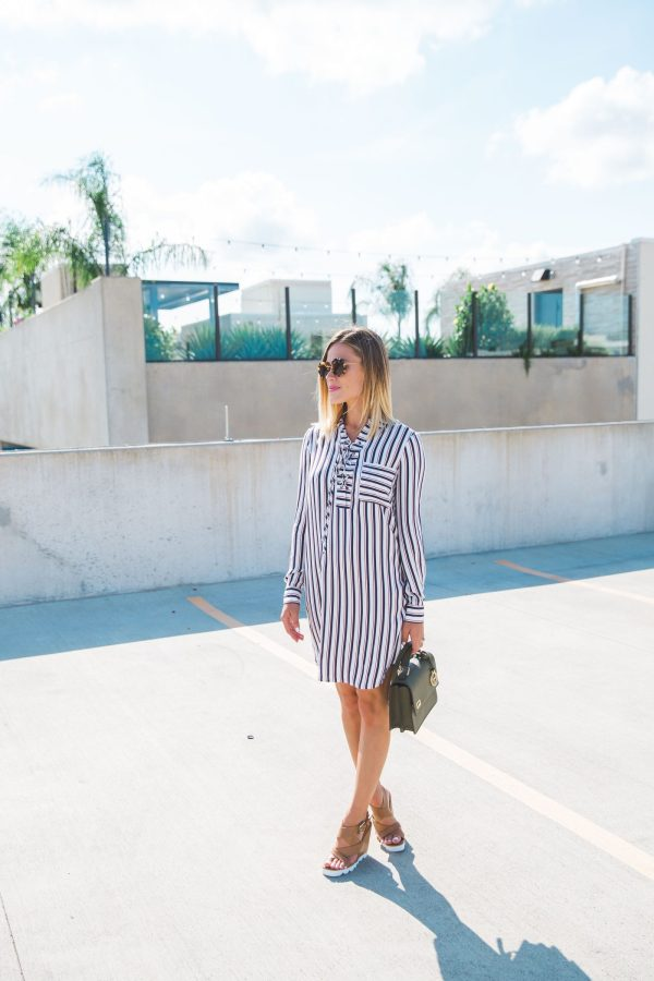 Wayf Dress | How to wear a lace up shirt dress | 70s-inspired shirt dress | Uptown with Elly Brown