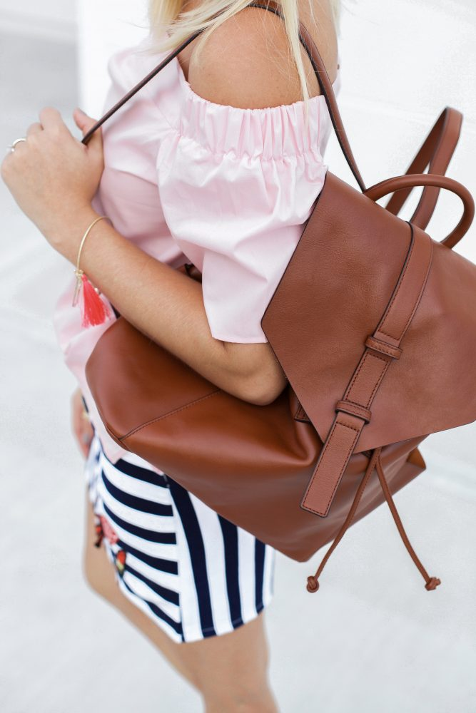 Why it's good to be a girl   Summer Chic look   Chic backpack   Pom-Pom Sandals   Uptown with Elly Brown