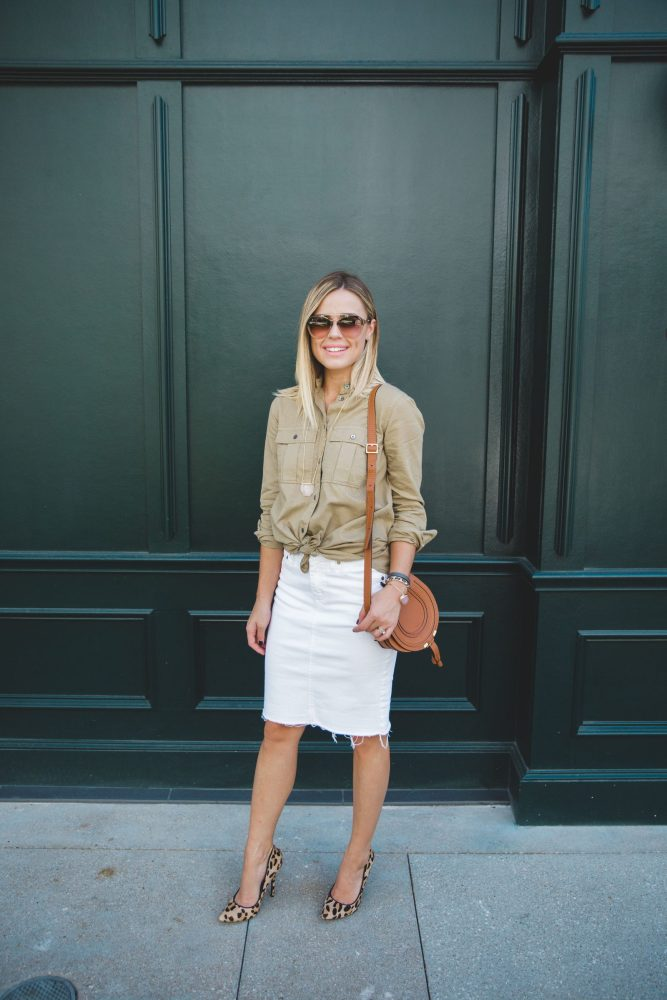 Debunking Fashion Myths (like white after Labor Day) and why you should ignore them   Denim White Skirt   Fall outfit   Uptown with Elly Brown