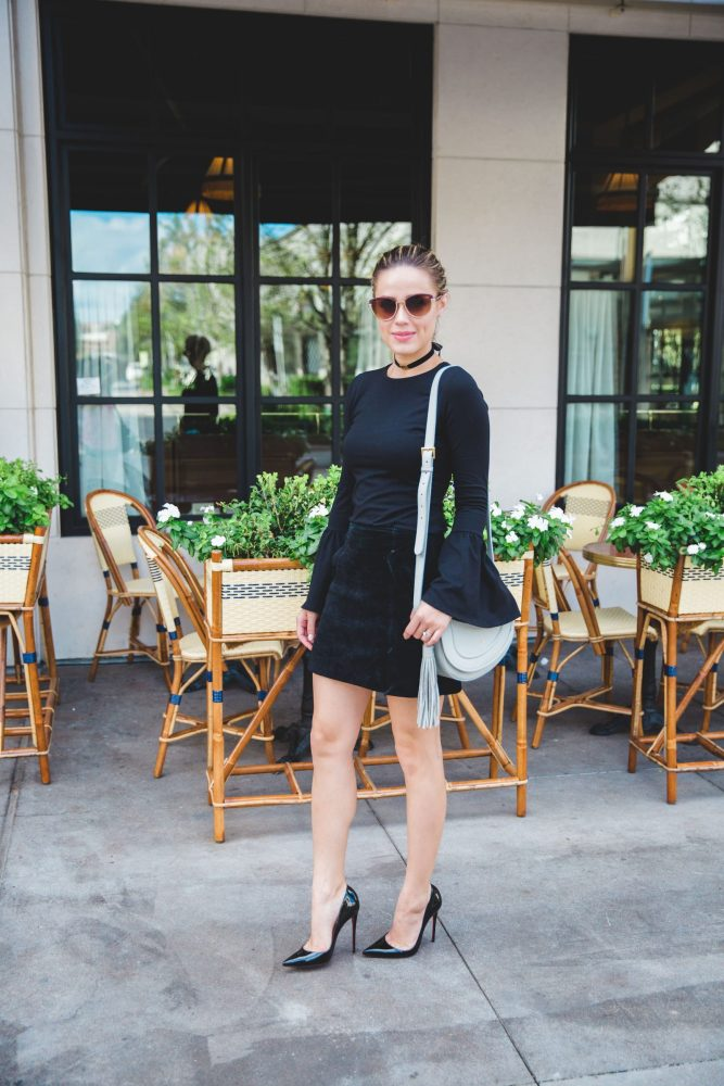 Bell sleeves look | Suede skirt | All Black outfit | Uptown with Elly Brown