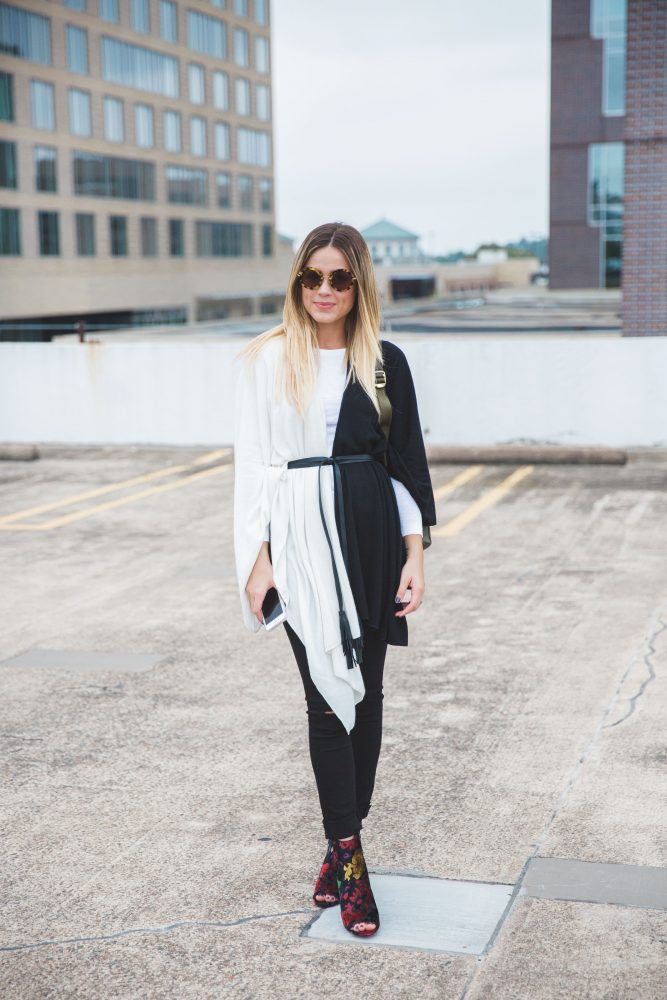 Layer outfit   Rachel Zoe cape   Black and white outfit   Casual outfit   Uptown with Elly Brown