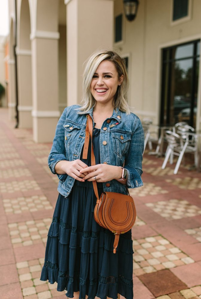 Spring Outfit   All Blue outfit   Spring Dress   Denim Jacket outfit   Maternity outfit   Uptown with Elly Brown
