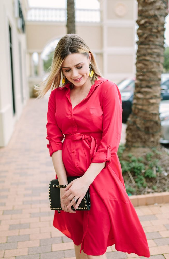 Red Dress | Spring dresses | Maternity Fashion | Maternity outfits | Uptown with Elly Brown