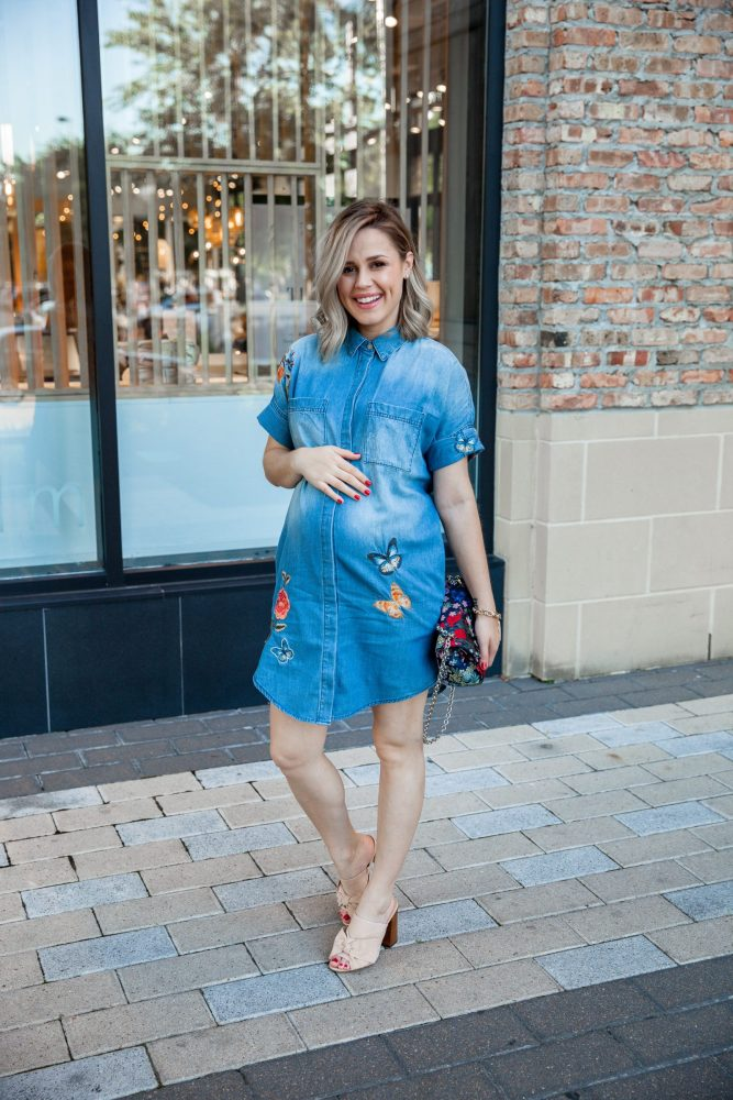 Floral Embroidered Shirtdress | Lord & Taylor Dress | Denim Dress | Spring outfit | Floral Dress | Maternity Fashion | Uptown with Elly Brown