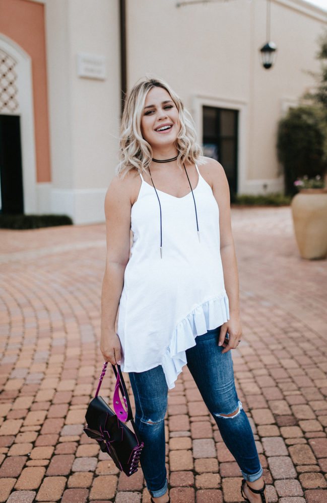 Summer Trends, Ruffles and how to wear it! | Ruffle top | Zara Ruffle top | Maternity Fashion | Maternity Summer outfits | Uptown with Elly Brown