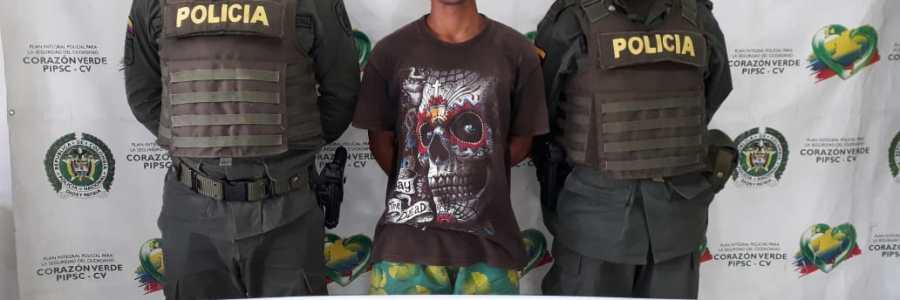 Capturado por los delitos de tráfico, fabricación o porte de estupefacientes en Carepa.