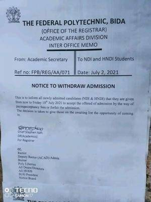 Fed Poly, Bida notice on deadline for acceptance of 2020/2021 admissions