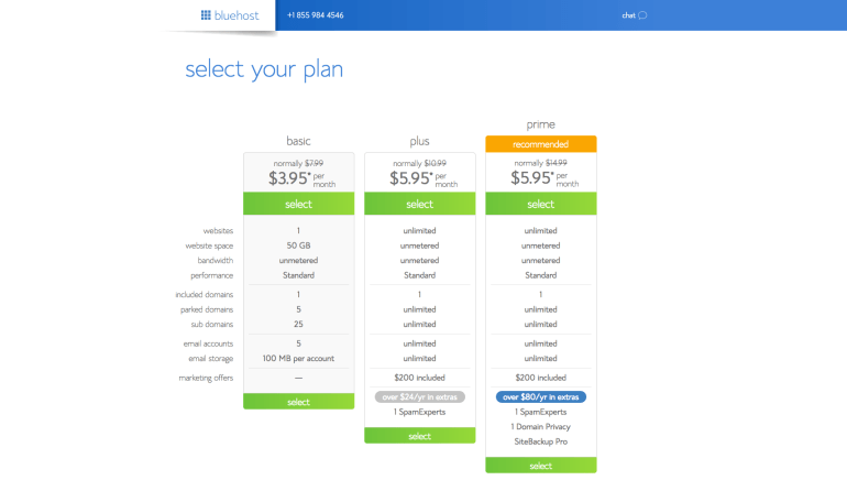 Here's where you can select the plan for your website.