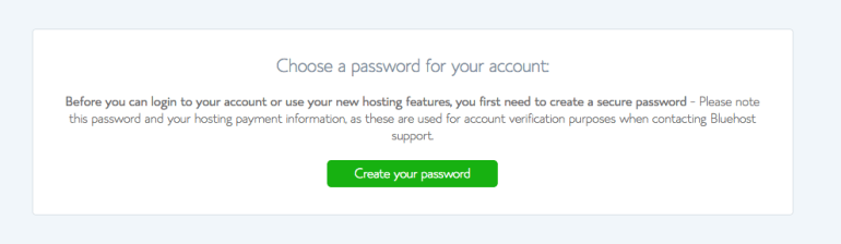 After you've registered your account to build your website, you'll need a password. Here's where you do that.