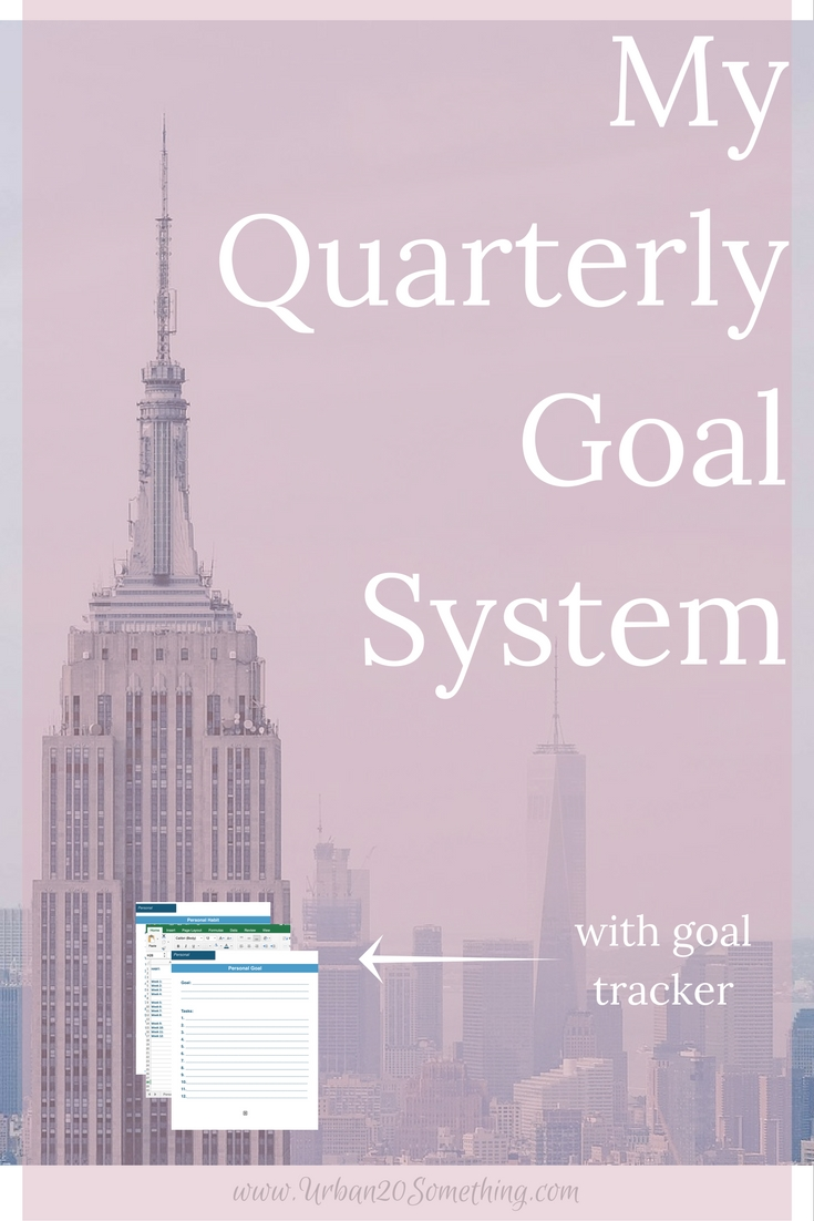 My quarterly goal system has been the best way to achieve my goals. Monthly goals aren't long enough and New Years resolutions are too long! Click through to learn my entire quarterly goal system and get your free guide and tracking spreadsheets to go with it