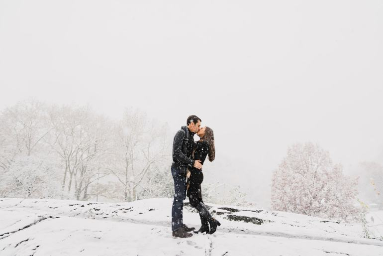 Our engagement photoshoot was dusted with the first snowfall of the winter. We were so lucky to be in Central Park!