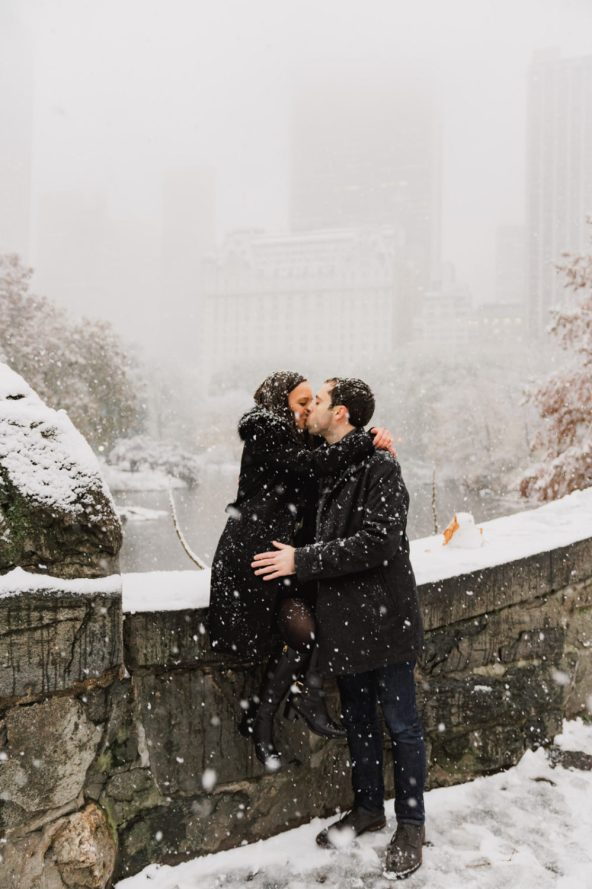 Our Engagement Shoot in Central Park in the winter!