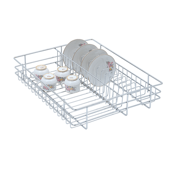 Cup and Saucer Drawer Basket (4″ Height X 17″ Width X 20″ Depth) 6mm wire SS