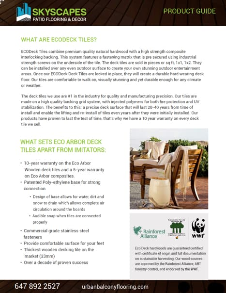 ECO Arbor Product Guide