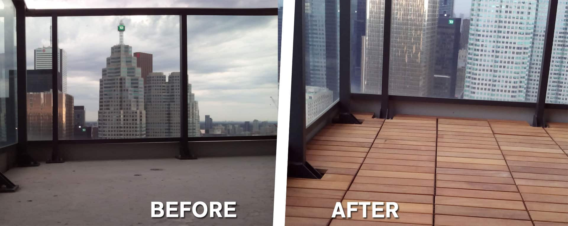 Before and After shot of garapa decking installed, with views of Toronto Skyline