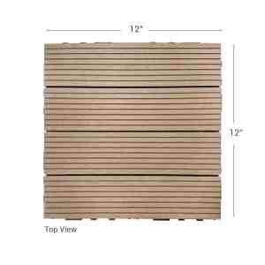 Teak Dura composite down shot showing deck tile dimensions
