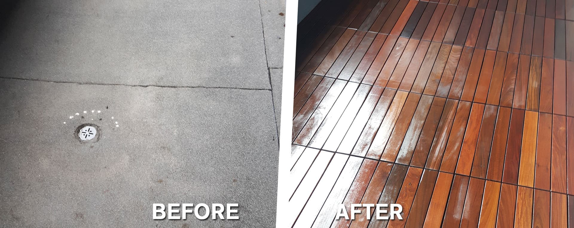 Before and after photos of Ipe Structural tile installation