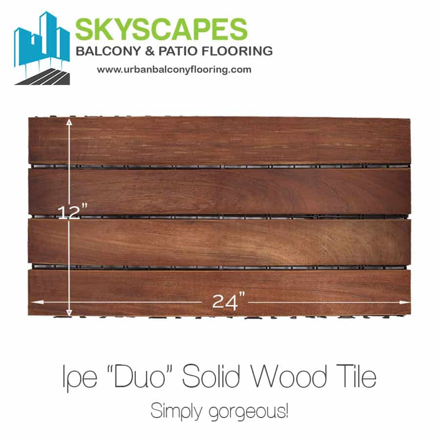 "Ipe ""Duo"", real-wood, outdoor flooring tile, seen on-face. Measures 2 by 1 feet. Gorgeous rich brown, thick wood slats with natural grain. Skyscapes green and blue logo at top-left of image. Amazing for balcony."