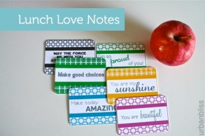 Lunch Love Notes Free Printable PDF File by Urban Bliss