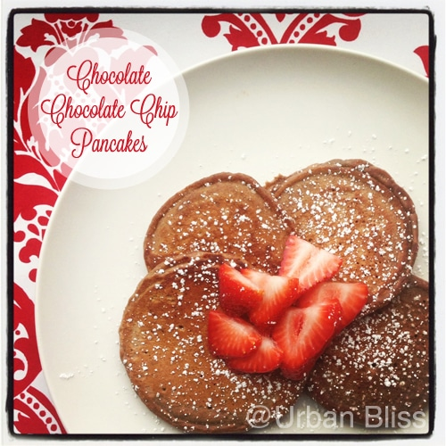 Valentine's Day: Chocolate Chocolate Chip Pancakes