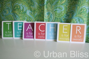 Teacher Appreciation Week Printable PDF: Teacher Flashcards by UrbanBlissMedia.com