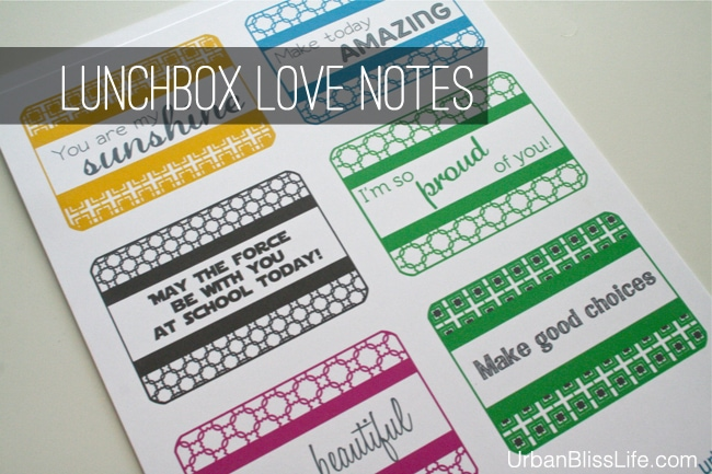 Lunchbox Love Notes Printables by Urban Bliss