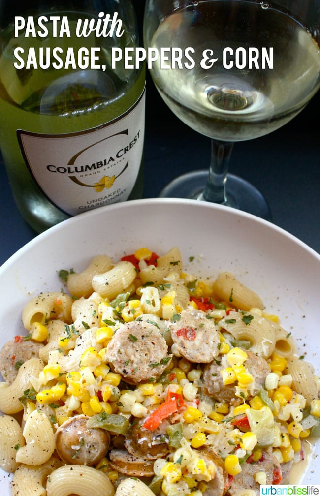 Pasta with Sausage, Peppers, and Corn Recipe PLUS Two Giveaways!