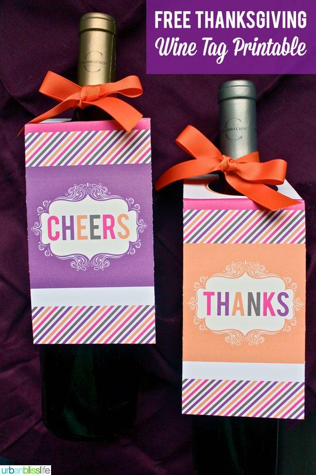 Thanksgiving Free Wine Tag Printable