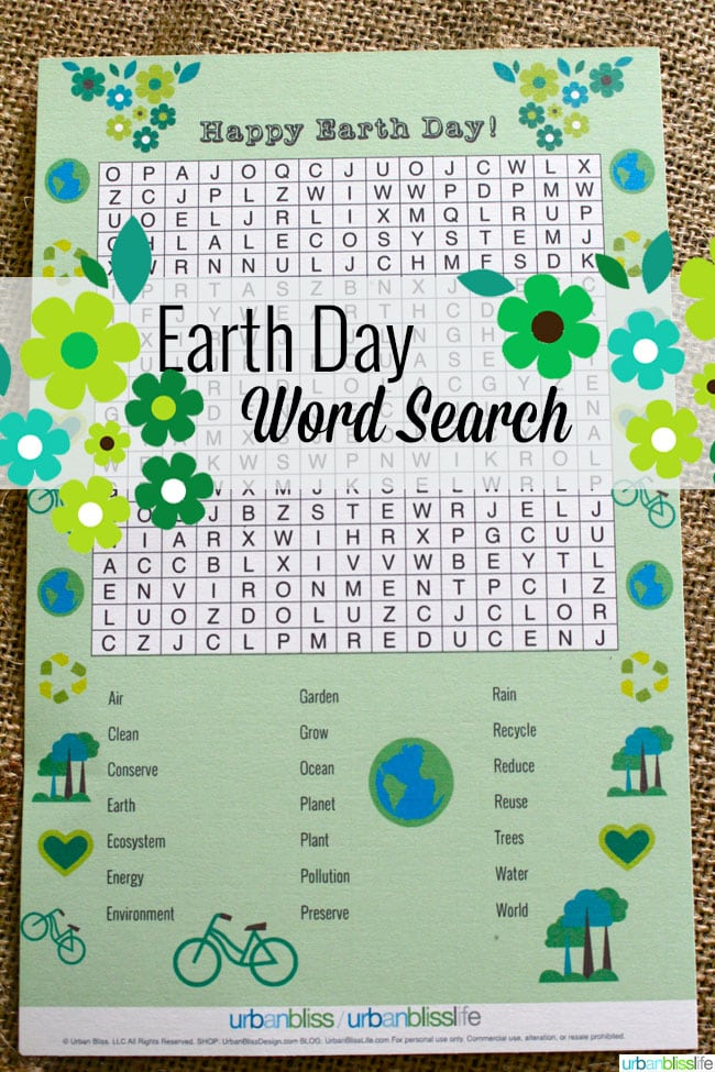 Earth Day Word Search Printable by Urban Bliss