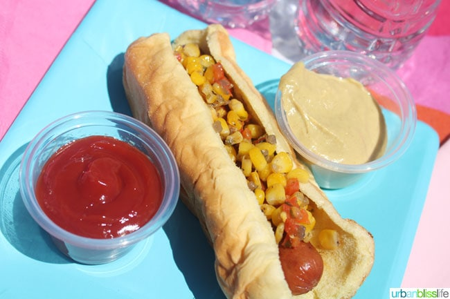 Summer Corn Relish Recipe for Hot Dogs on UrbanBlissLife.com