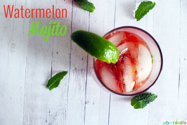 Watermelon Mojito cocktail recipe on UrbanBlissLife.com