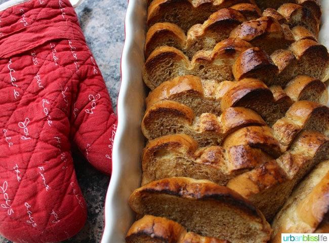 Overnight Baked French Toast recipe on UrbanBlissLife.com