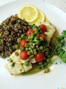Wild Alaskan Halibut Poached with Tomatoes and Peas Wine Sauce, recipe on UrbanBlissLife.com