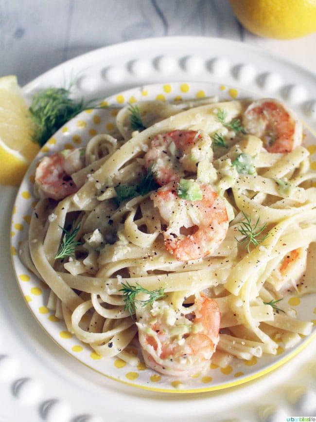 Shrimp Fettucine with Creamy Avocado Sauce recipe on UrbanBlissLife.com