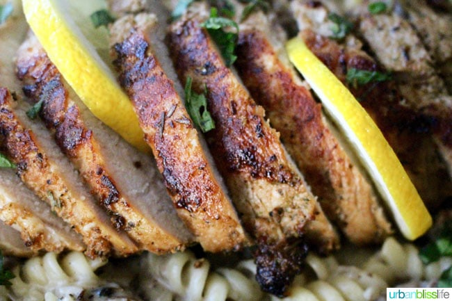 Pork Tenderloin Pasta with Mushroom Herb Sauce, Dairy-Free - recipe on UrbanBlissLife.com