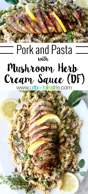 Pork and Pasta with Mushroom Herb Sauce, Dairy-Free - recipe on UrbanBlissLife.com