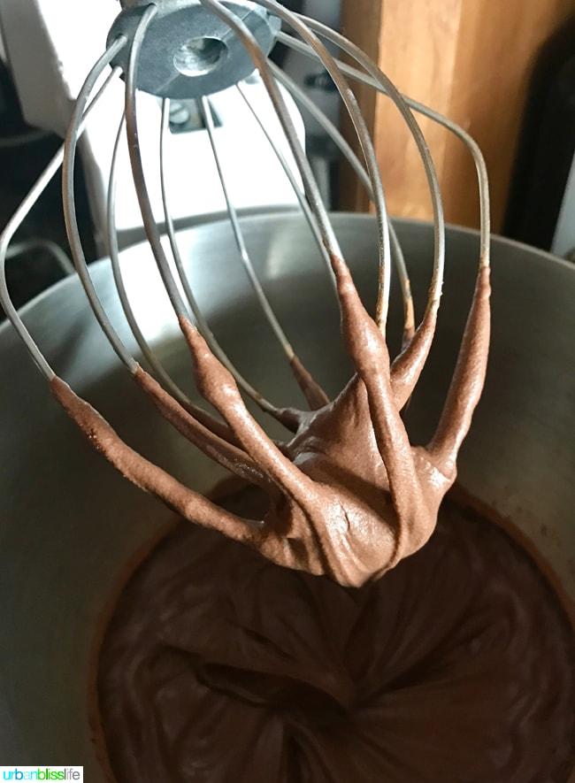 Pancake Cake Stacks with Dairy-Free Chocolate Frosting recipe on UrbanBlissLife.com