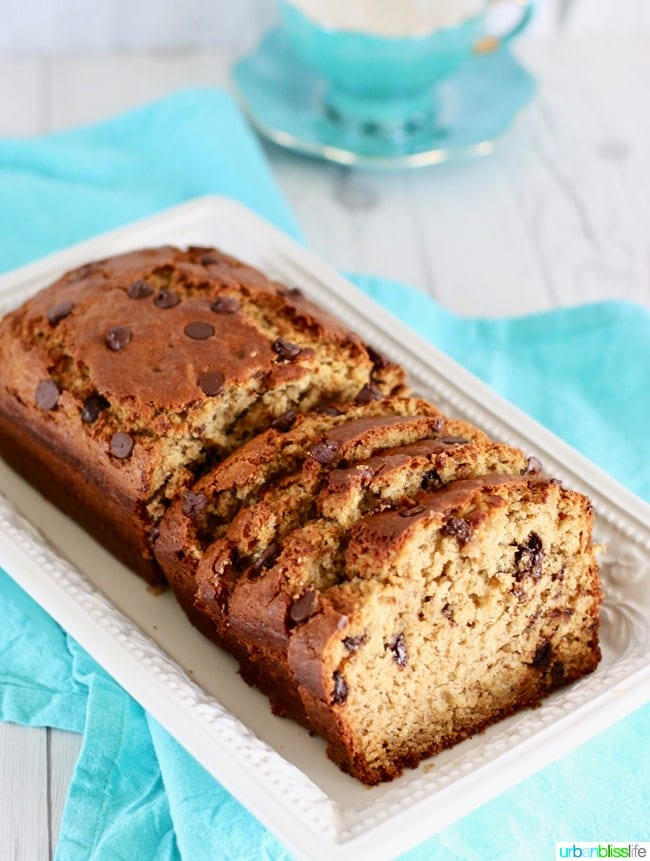 Chocolate Chip Banana Bread recipe on UrbanBlissLife.com