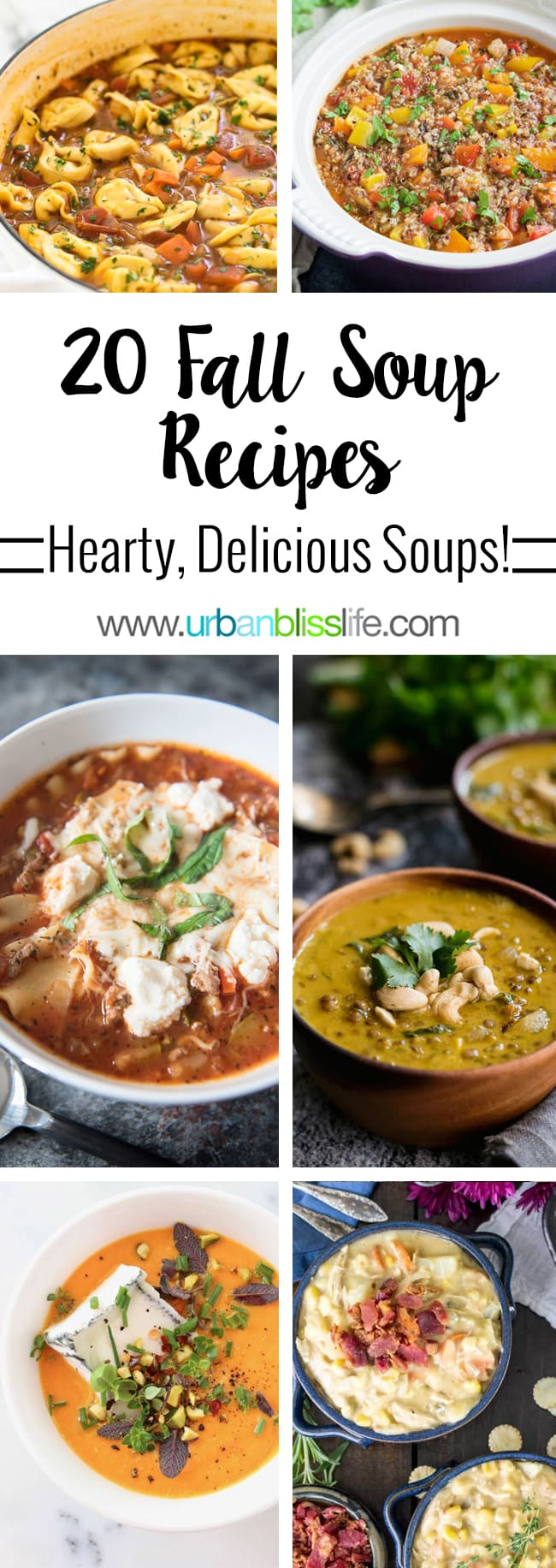 20 best fall soup recipes to keep you warm and toasty! Get the recipes on UrbanBlissLife.com.