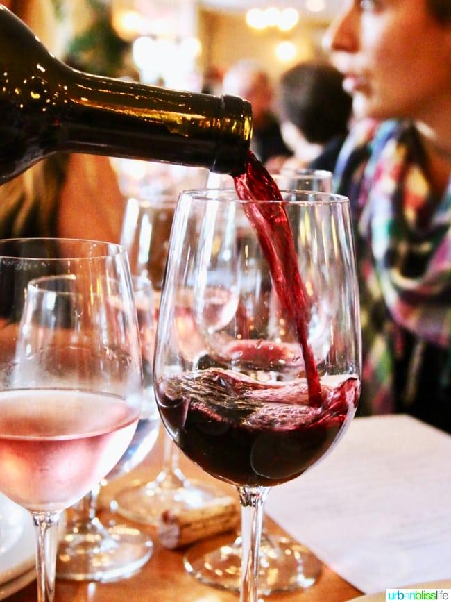 Lark Restaurant red wine. Restaurant review on UrbanBlissLife.com