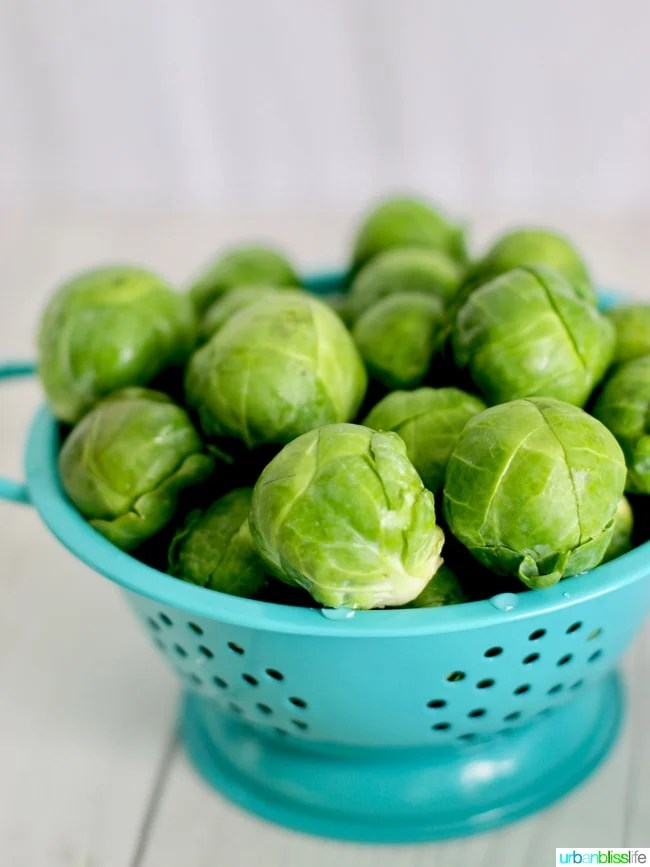 brussels sprouts in colander