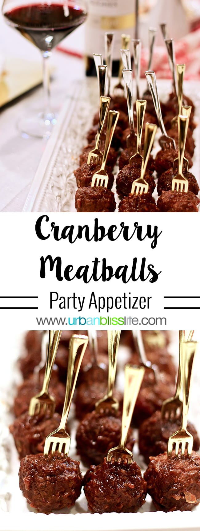 Cranberry Meatballs Party Appetizer recipe on UrbanBlissLife.com