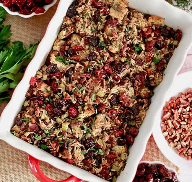 Wild Rice Dressing with Cranberries, Cherries, and Pecans. Recipe on UrbanBlissLife.com