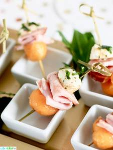 Ham, Melon, Mozzarella Bites party appetizer recipe on UrbanBlissLife.com