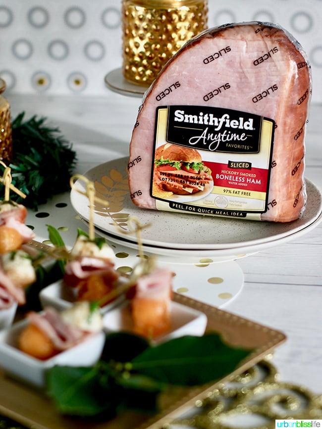 Smithfield Ham - Ham, Melon, Mozarella Bites party appetizer recipe on UrbanBlissLife.com
