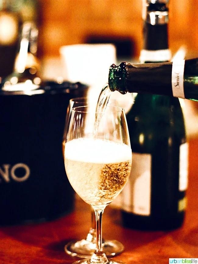 champagne at at Bar Casa Vale restaurant in Portland, Oregon.