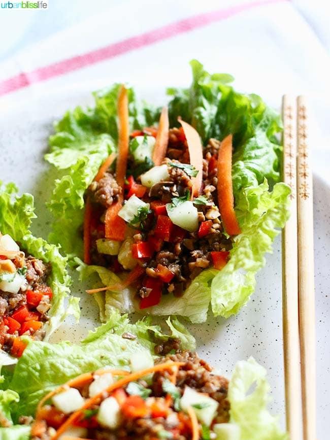 Teriyaki Mushroom Sausage Lettuce Wraps