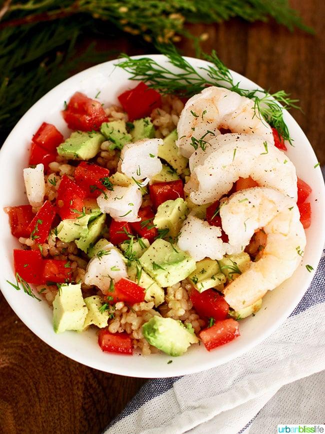 shrimp avocado rice bowl close up