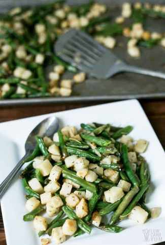 Roasted Jicama and green bean salad