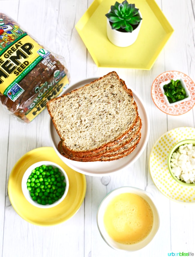 Spring Scramble Toast with peas and feta ingredients